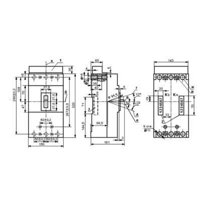 Габариты автоматического выключателя А3726