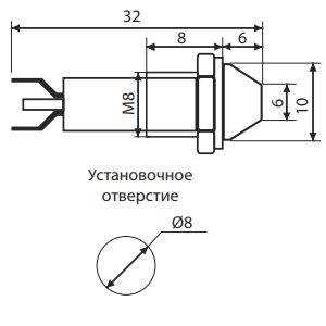 Схема светосигнальной арматуры AD22C-8 24V DC