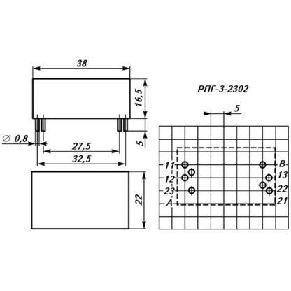 Габаритные и установочные размеры реле РПГ-3-2302