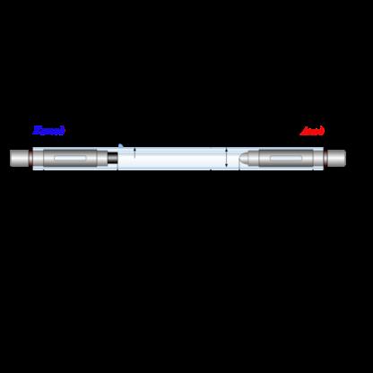 Габаритный эскиз лампы ИНП3-7/80А с жёсткими токовводами