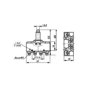 Установочные и присоединительные размеры микропереключатель МП1102 исполнение 1
