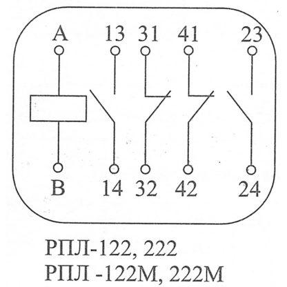 Схема работы контактов реле РПЛ-122