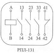 Схема работы контактов реле РПЛ-131 380В 50Гц