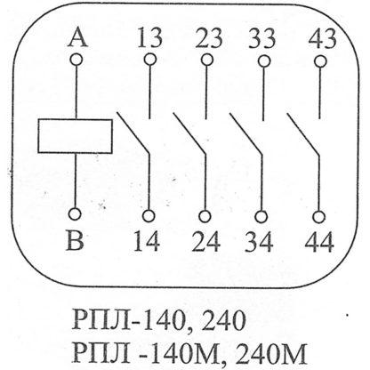 Схема работы контактов реле РПЛ-140
