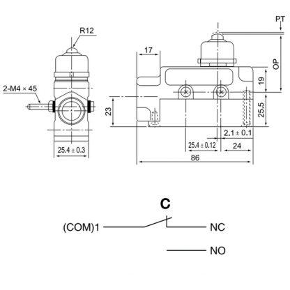 Схема герметичного кінцевого вимикача TZ-6101 IP65 TMAZTZ