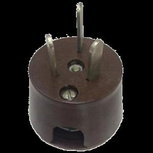 Вилка приборная с 3-мя плоскими контактами 250В, 42В, 36В угловая