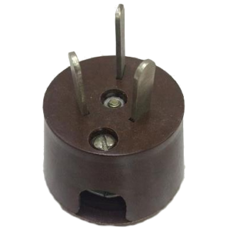 Вилка приборная с 3-мя плоскими контактами на 42В или 36В угловая